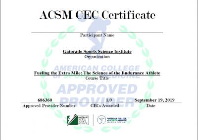 ACSM CEC Certificate - GSSI 9-19-2019